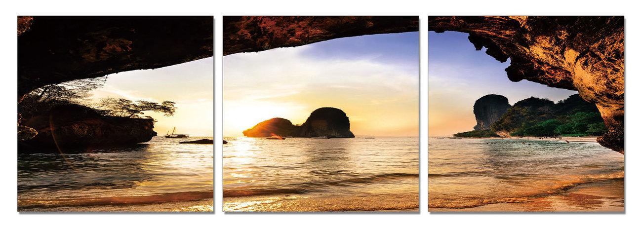 Beach at Sunset Schilderij