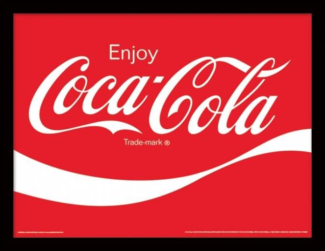 coca cola logo gerahmte poster bilder kaufen bei europosters. Black Bedroom Furniture Sets. Home Design Ideas