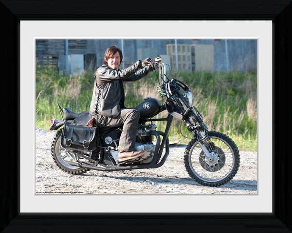 the walking dead daryl bike gerahmte poster bilder. Black Bedroom Furniture Sets. Home Design Ideas