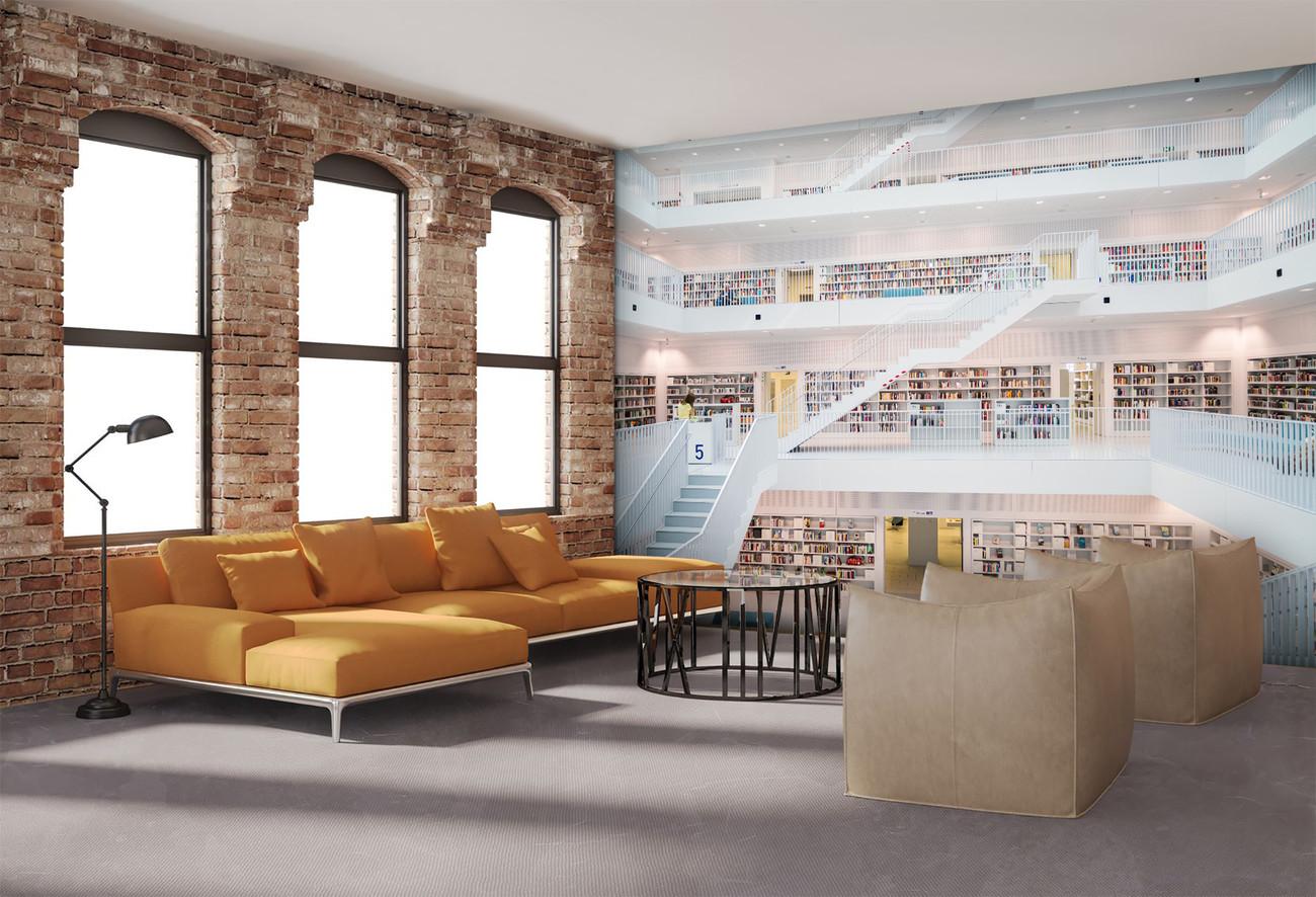 Carta da parati biblioteca white for Parati 3d prezzi