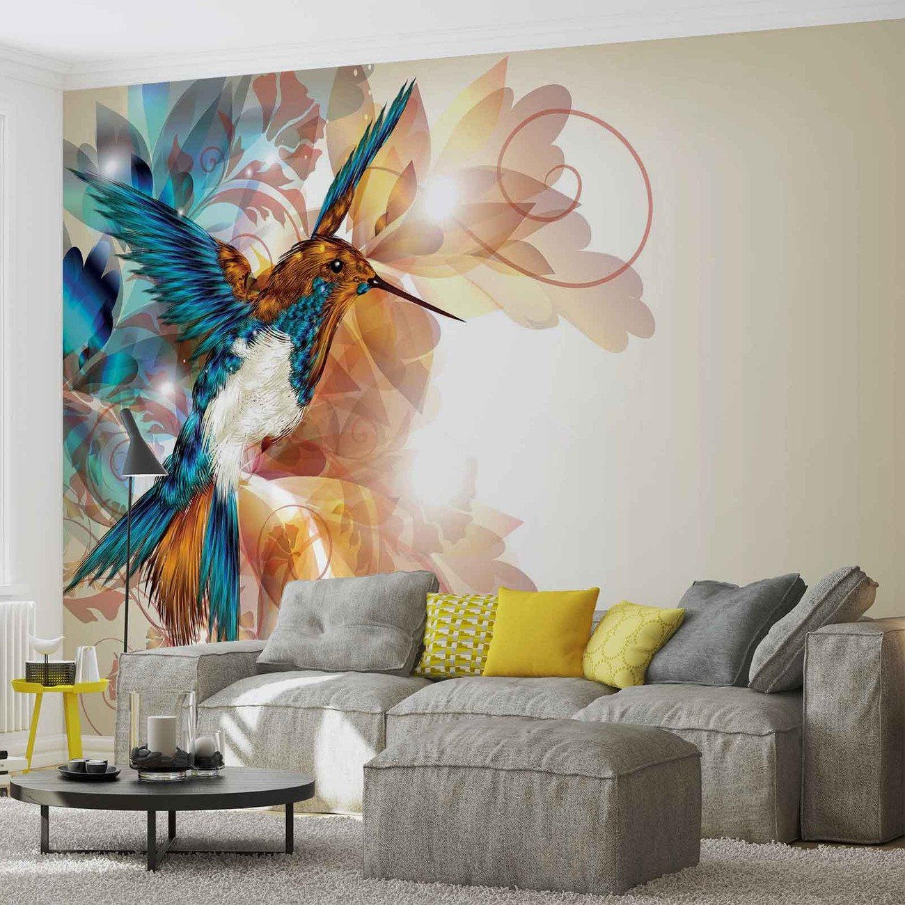 Carta da parati colibr fiori astratto for Carta da parati tre d