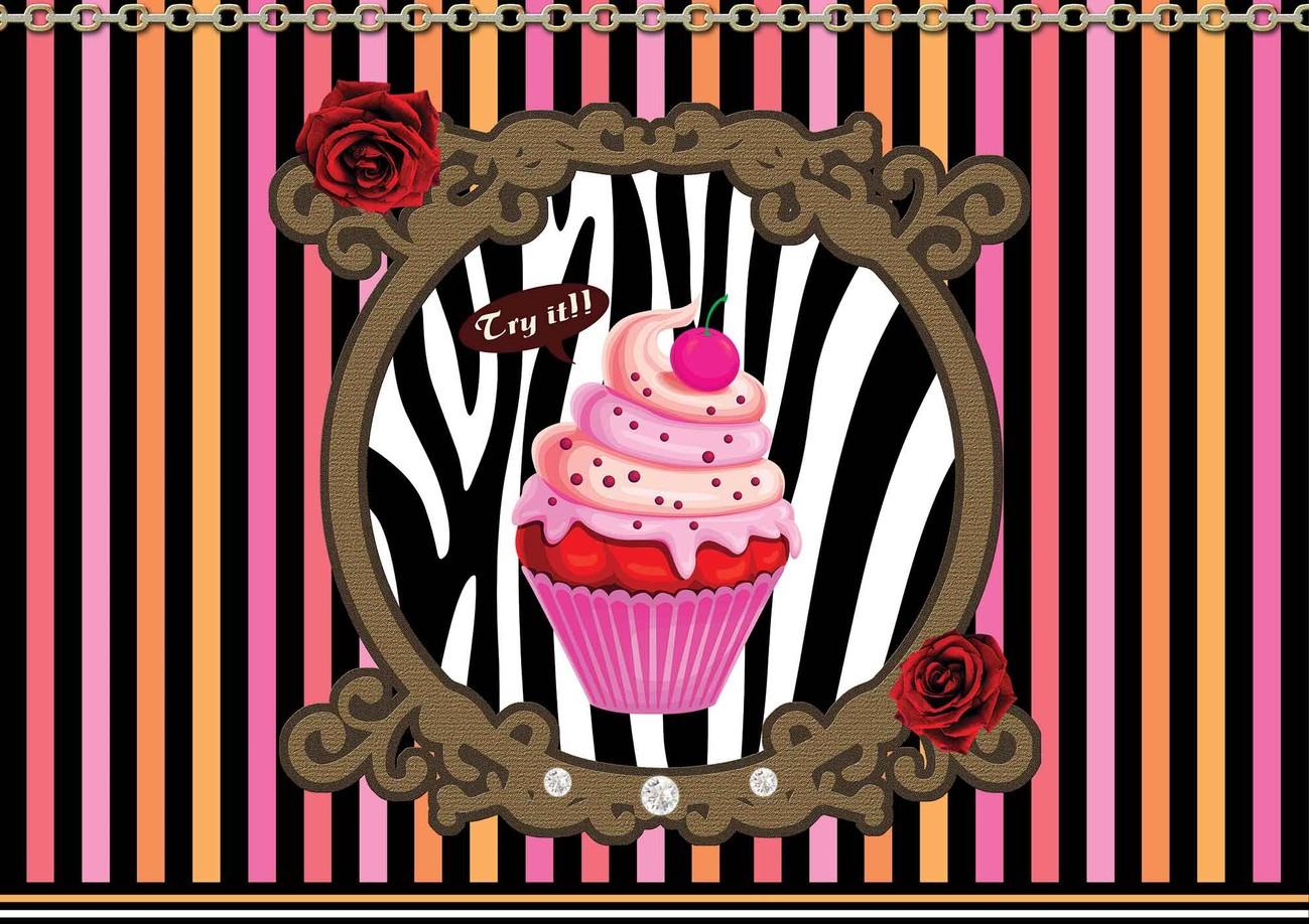 Carta da parati cupcake strisce for Carta da parati a strisce