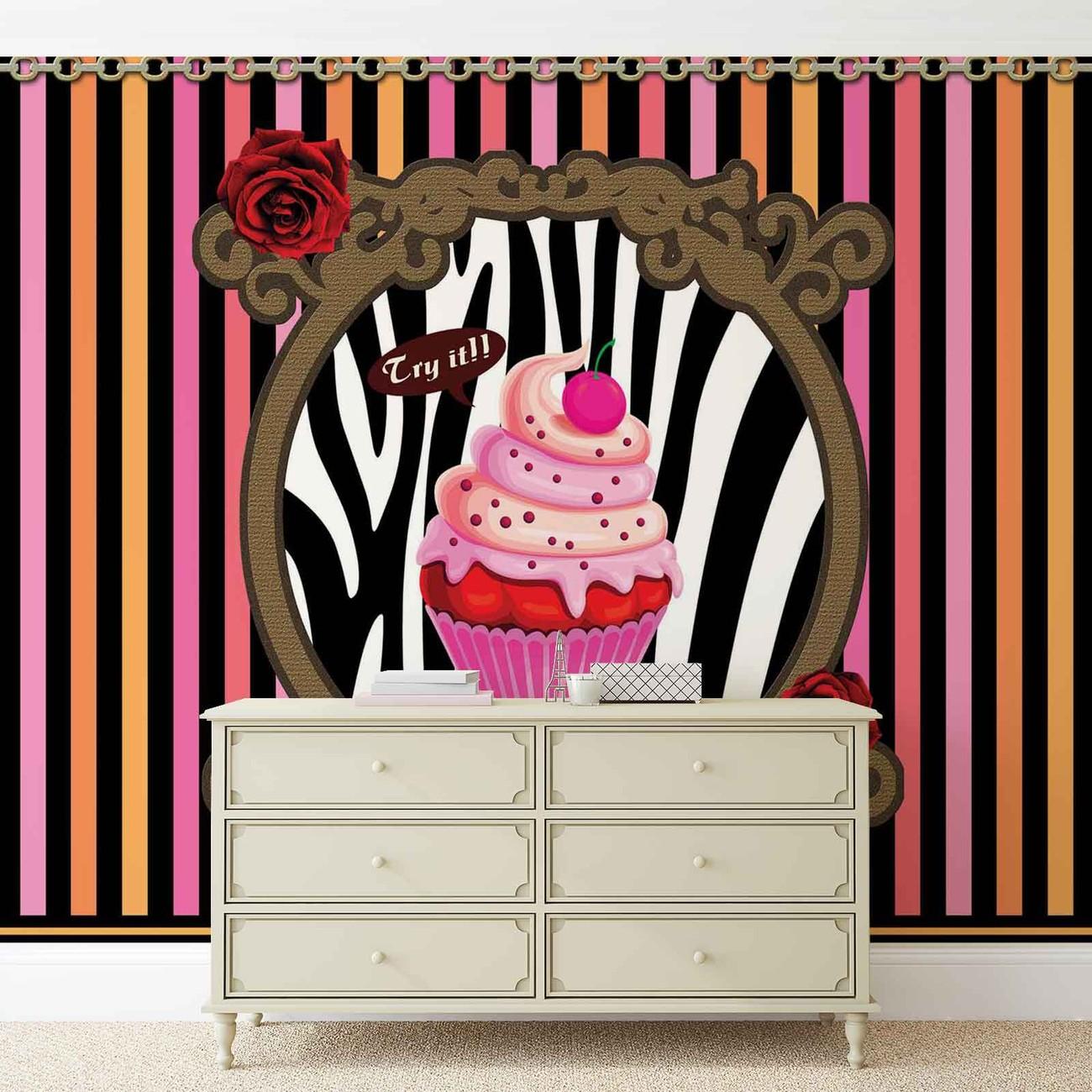 Carta da parati cupcake strisce for Carta parati strisce