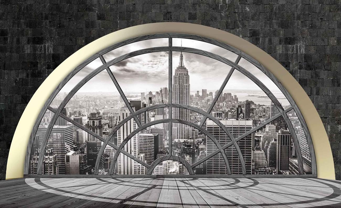 Carta da parati finestra skyline di new york city for Finestra new york