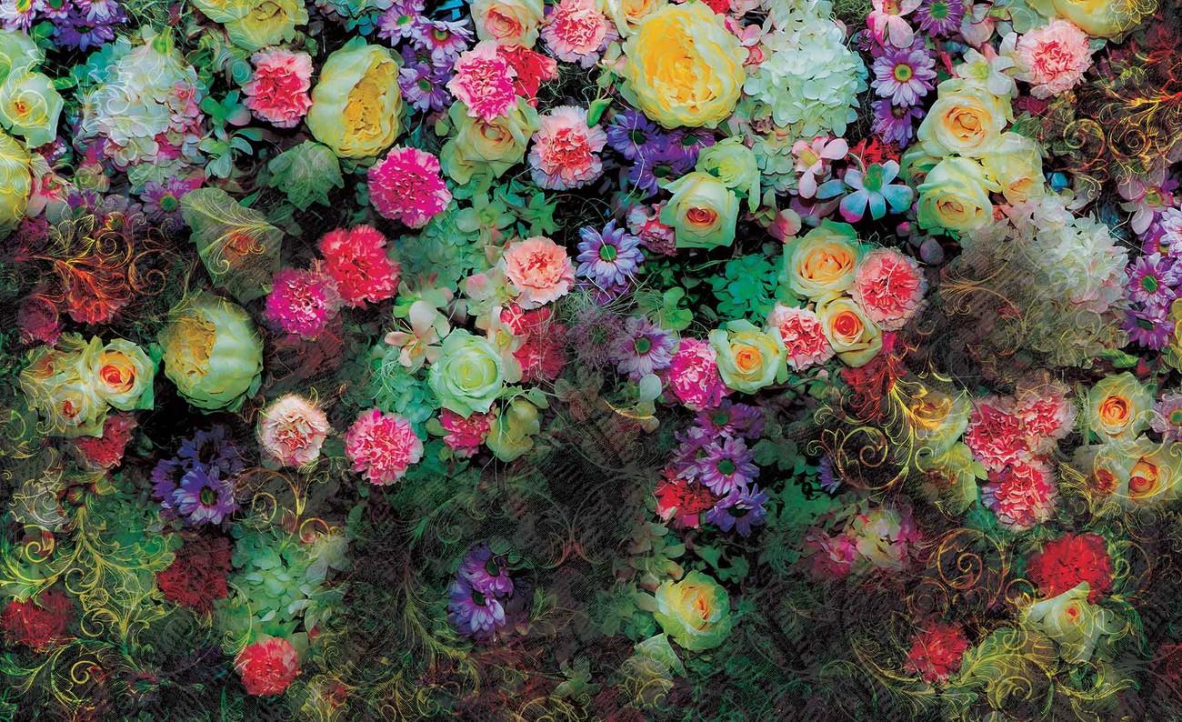 Carta da parati fiori colorati for Carta parati fiori