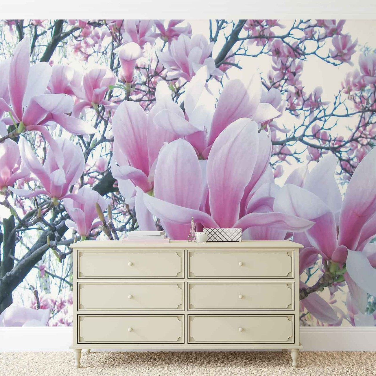 Carta da parati fiori di magnolia for Carta da parati fiori grandi