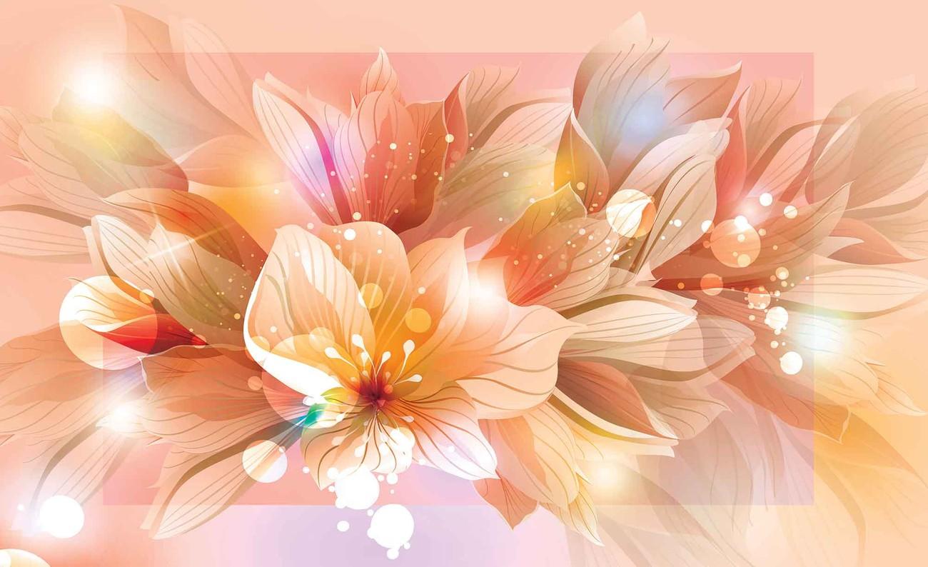 Carta Da Parati A Fiori Glicini: Carta Da Parati - Fiori Natura Arancione