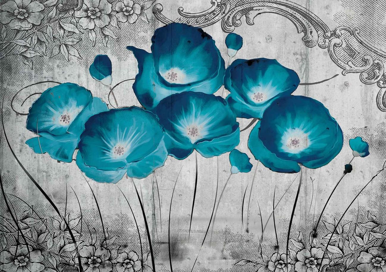 Carta da parati fiori vintage grigio blu for Carta parati blu