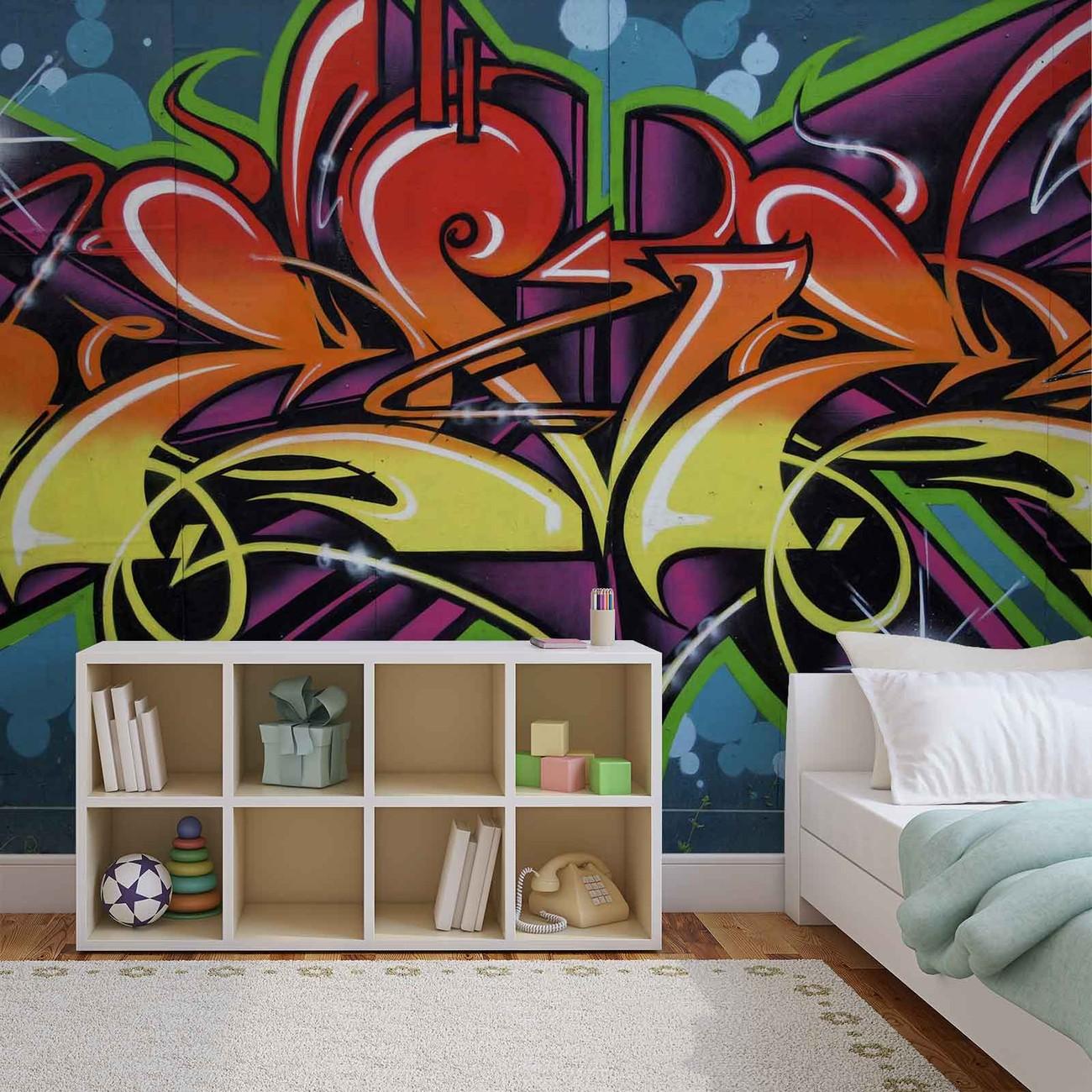 Carta da parati graffiti street art for Prezzo carta parati