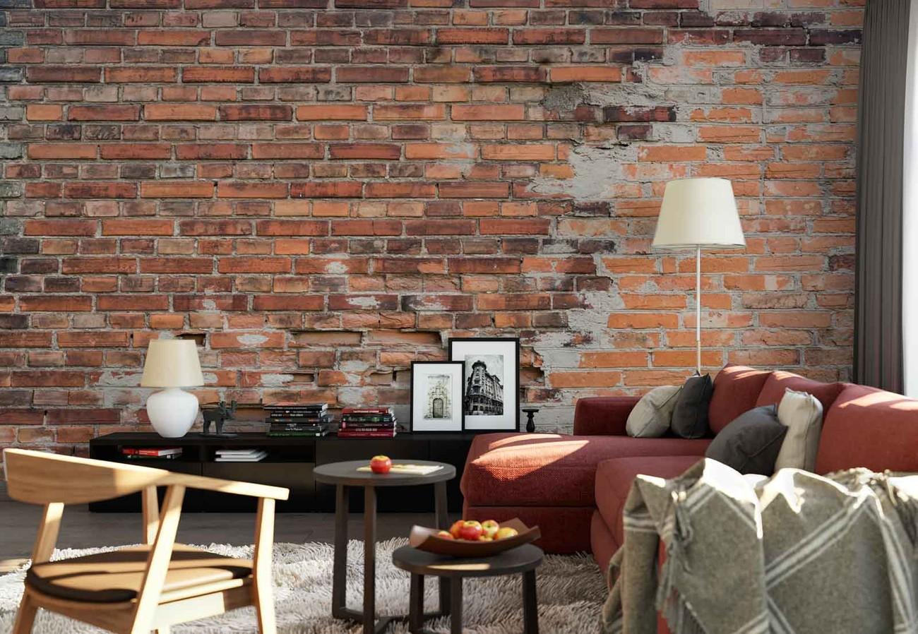 Carta da parati grunge brick wall for Carta da parati tipo mattoni