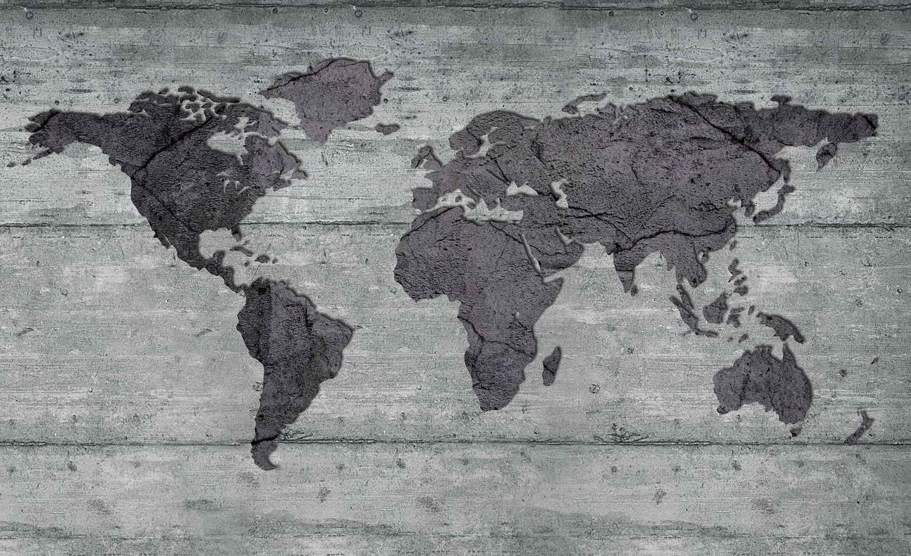 Carta da parati mappa del mondo apparenza cemento for Prezzo carta da parati design