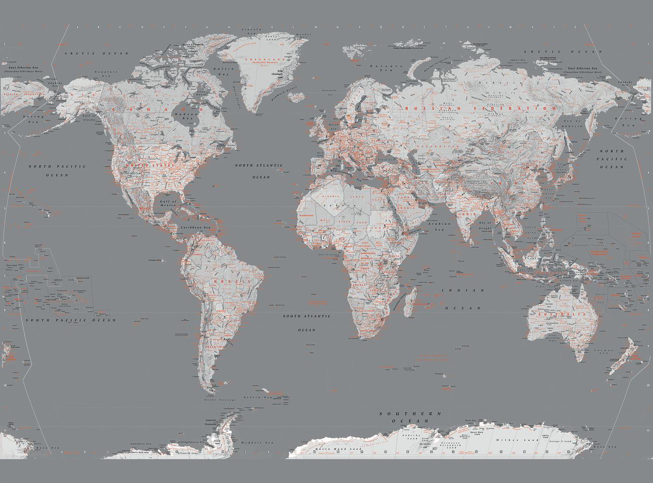 Carta da parati mappa del mondo argento e arancio for Carta parati argento
