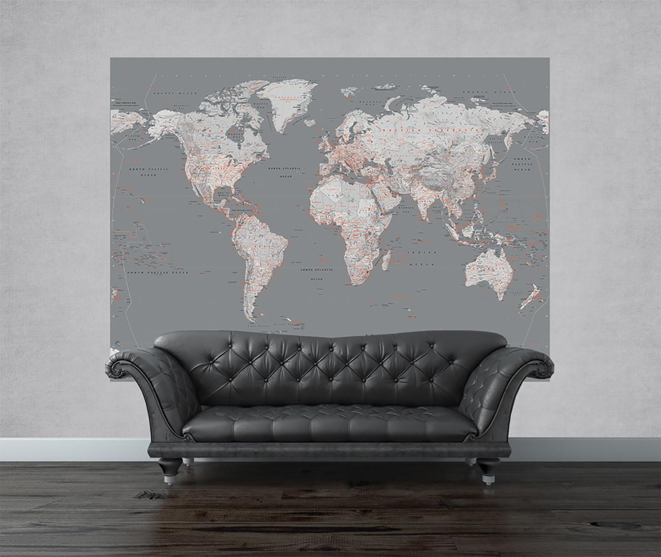 Carta da parati mappa del mondo argento e arancio for Carta parati mondo