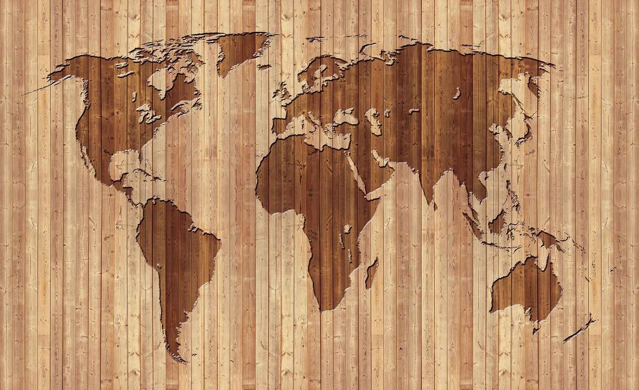 Carta da parati mappa del mondo legno for Carta da parati tipo legno