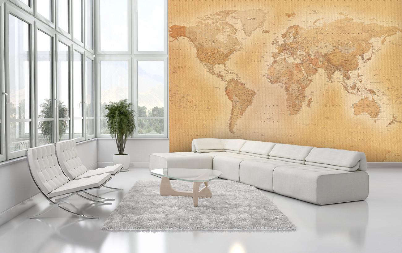 Carta da parati mappa del mondo old map for Carta parati mondo