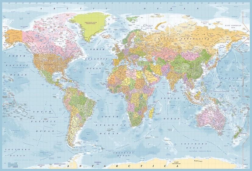 Carta da parati mappa del mondo politica for Carta parati mondo