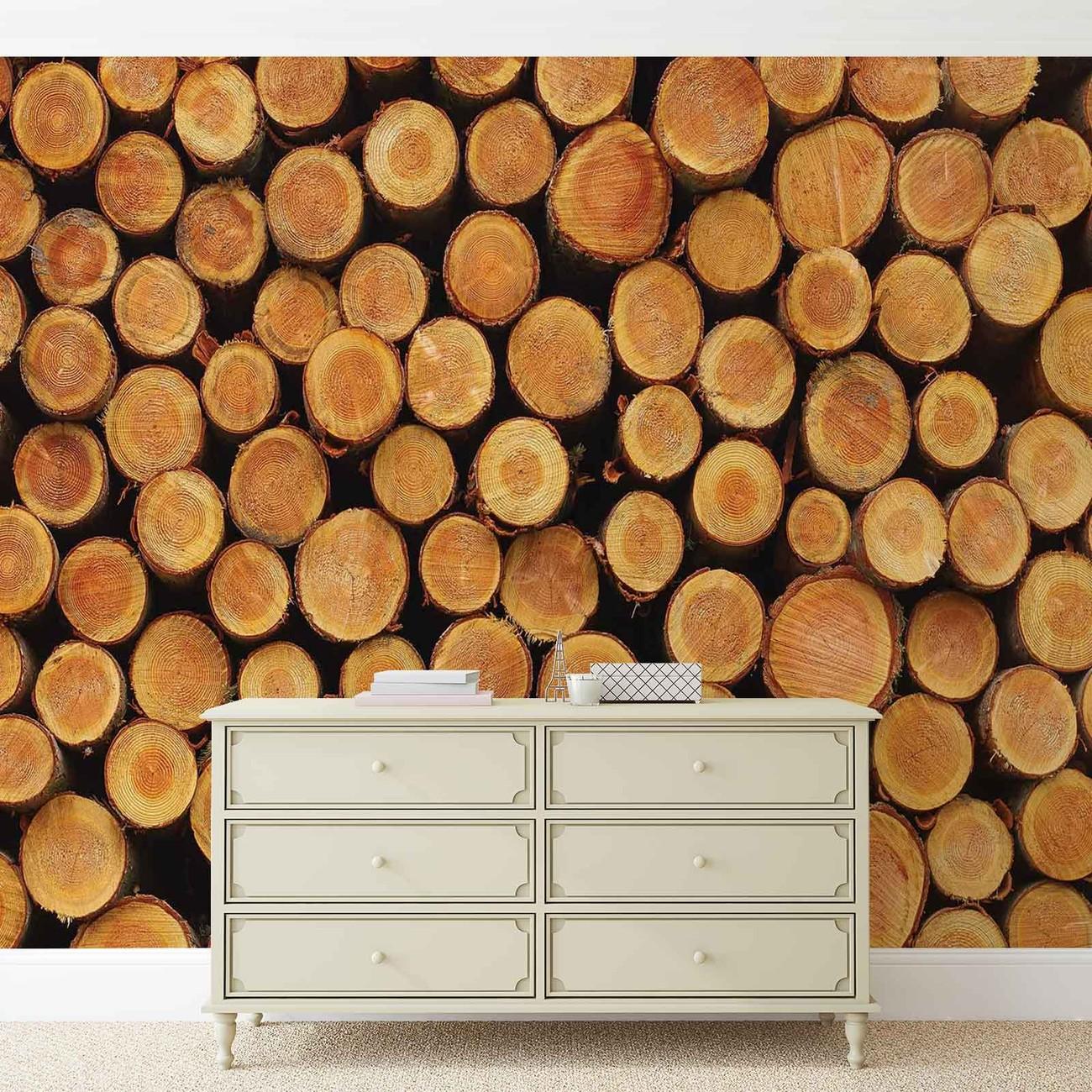 Carta da parati motivo ceppi legno naturale for Carta da parati tipo legno
