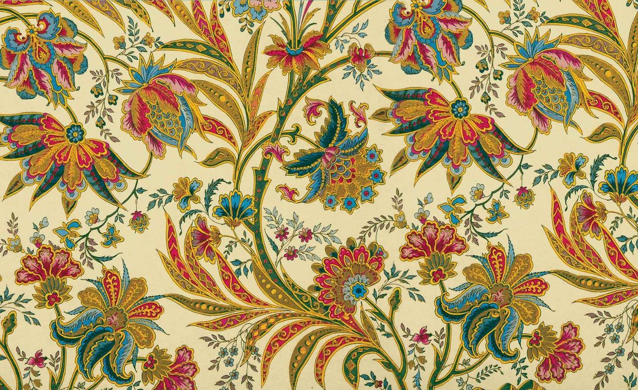 Carta da parati motivo floreale piante vintage for Carta da parati retro
