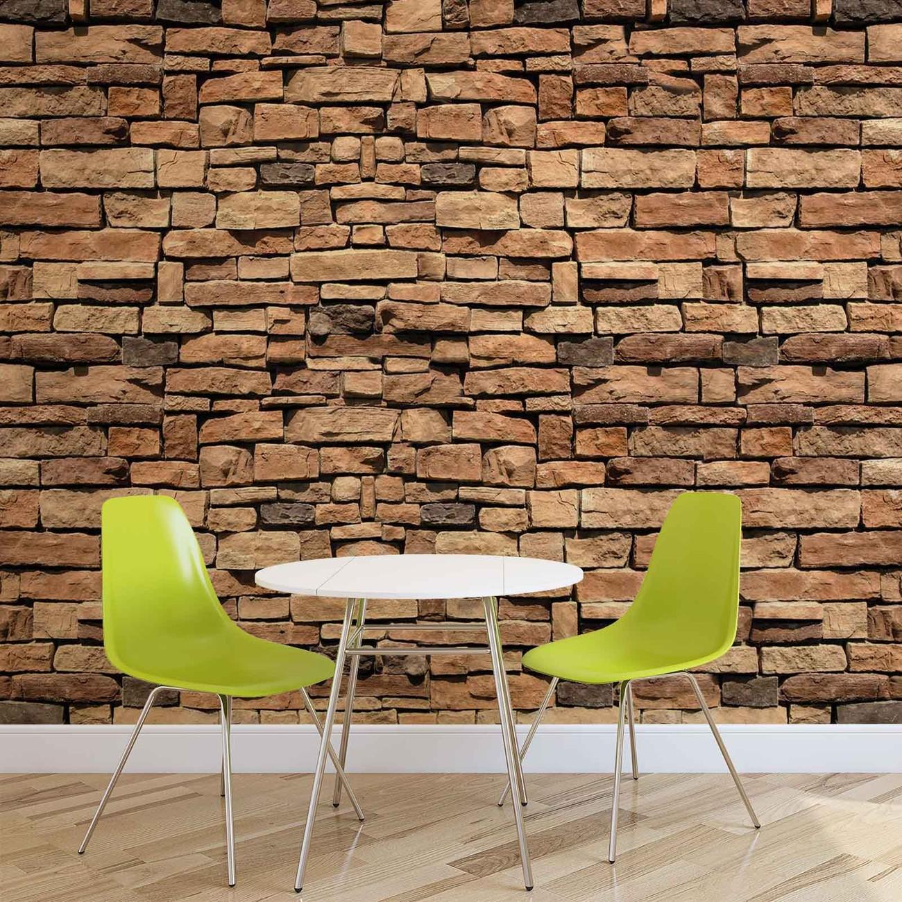 Carta da parati muro di pietra for Carta da parati tipo mattoni
