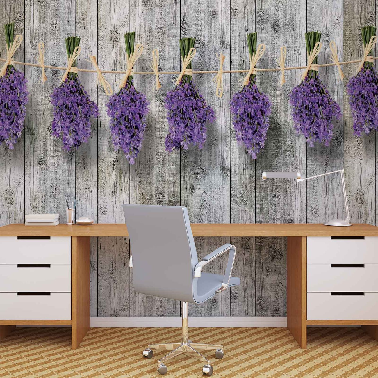 Carta da parati muro in legno fiori lavanda for Carta da parati muro