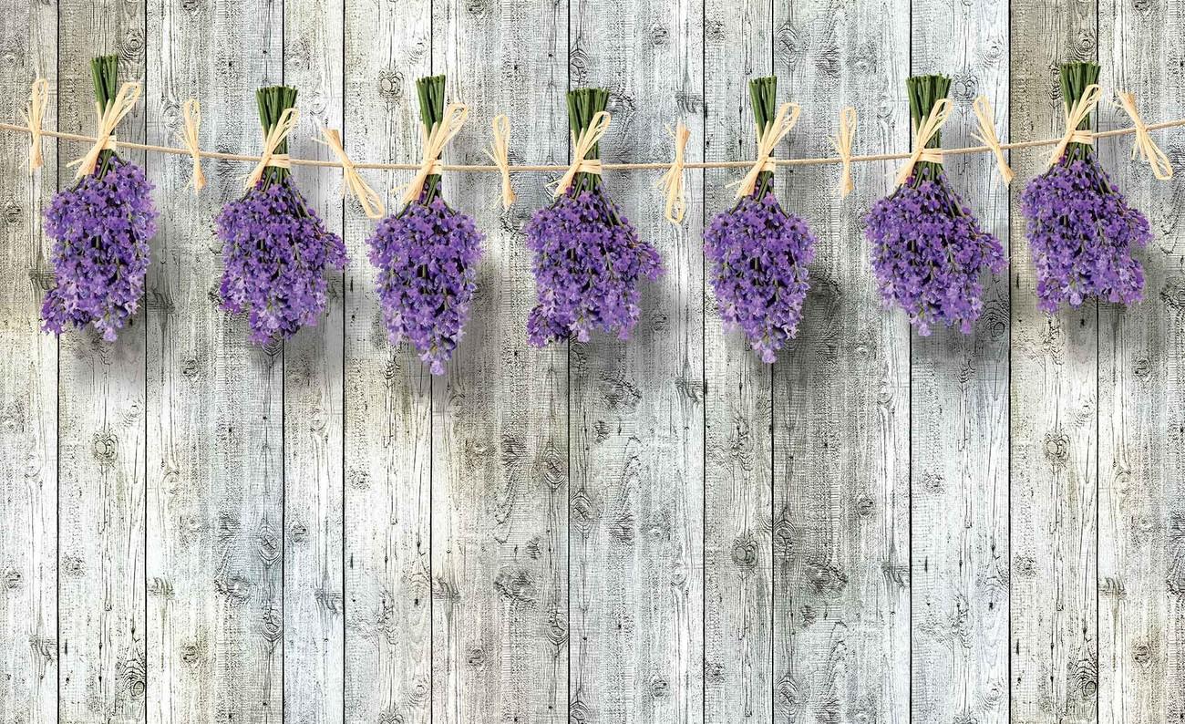 Carta da parati muro in legno fiori lavanda for Fiori di lavanda