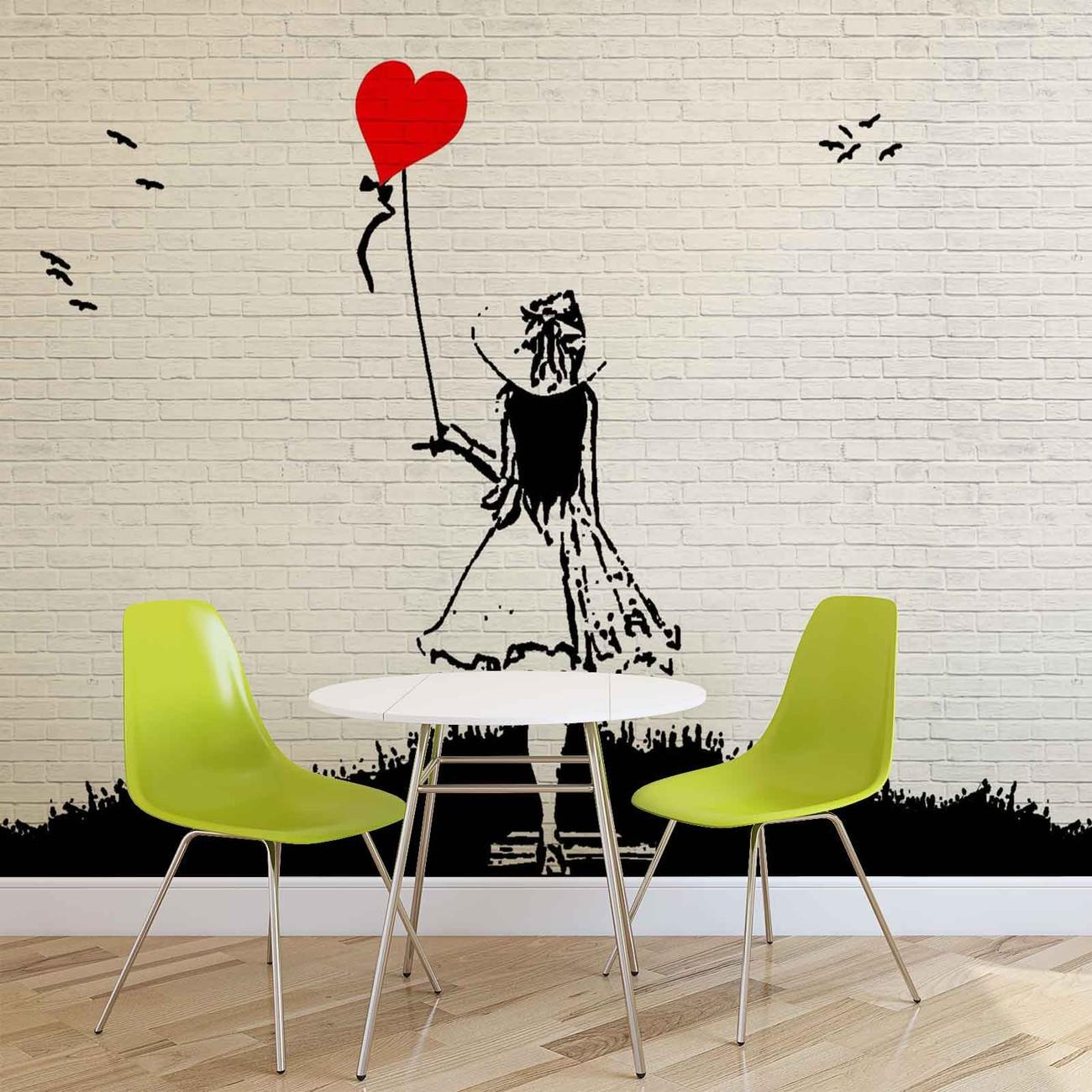 Carta da parati muro mattoni bambina palloncino cuore for Carta da parati tipo mattoni