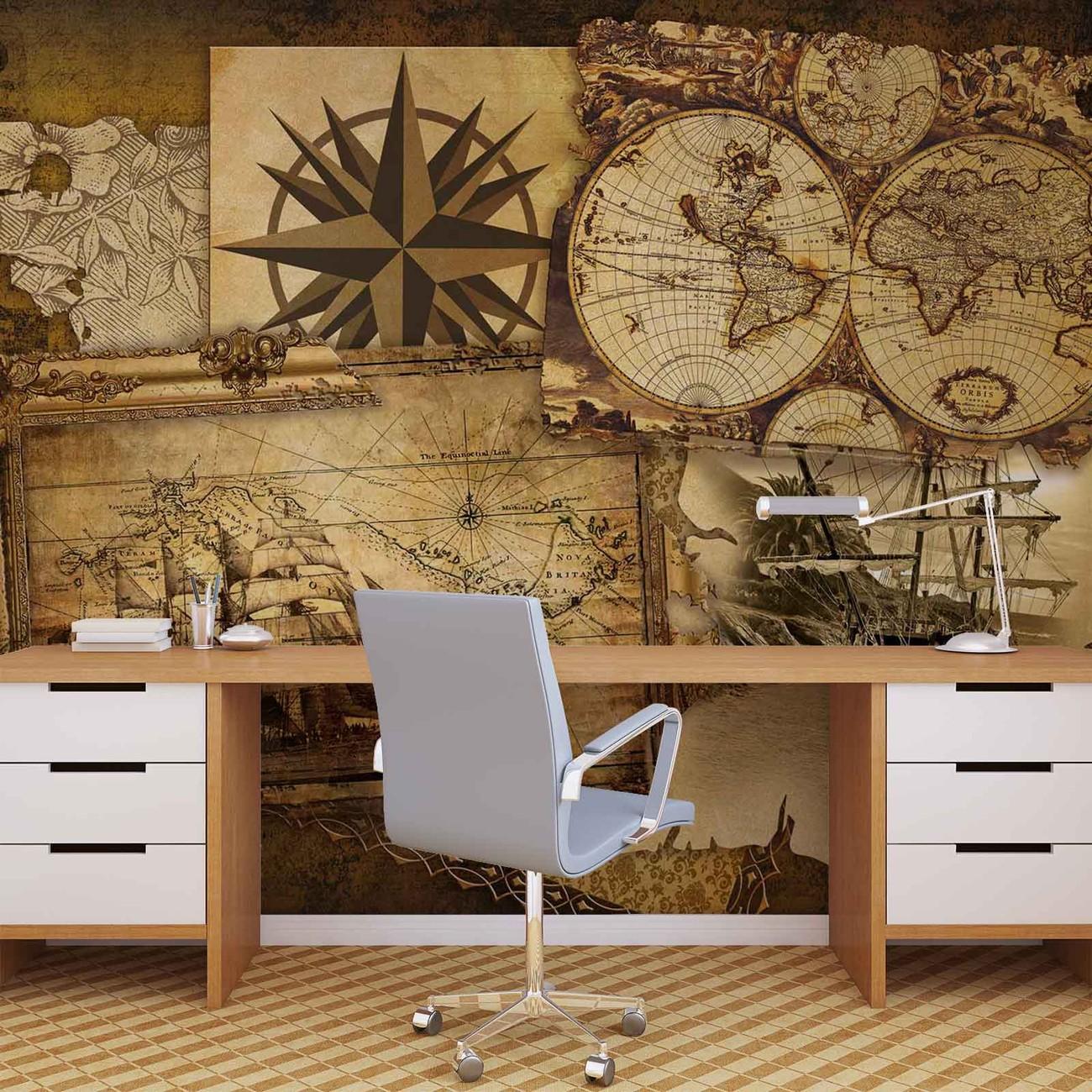 Carta da parati navi e mappe vintage for Carta da parati retro