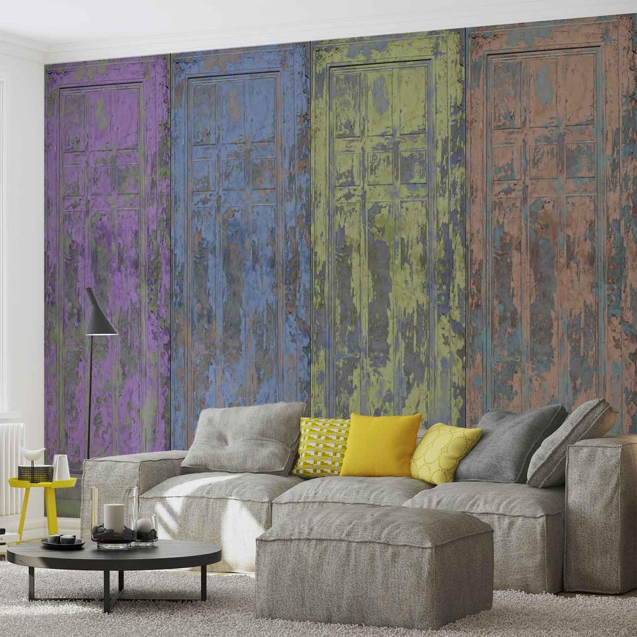 Carta da parati porte in legno rustiche verniciate for Carta da parati per porte