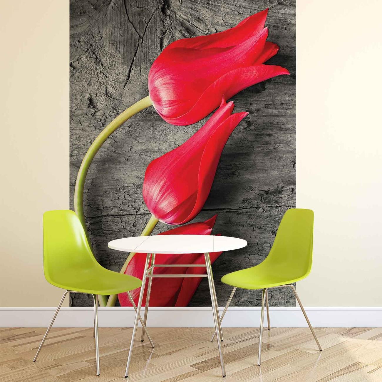 Carta da parati tulipani su legno for Colla da parati