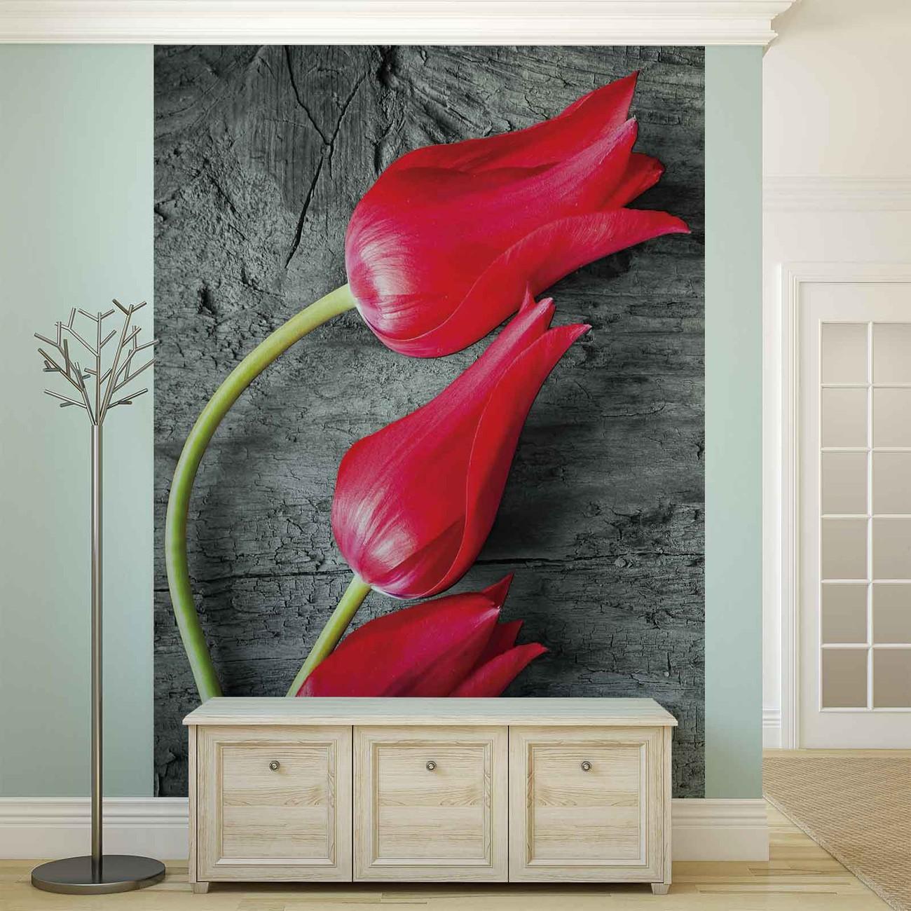 Carta da parati tulipani su legno for Stampa su carta da parati