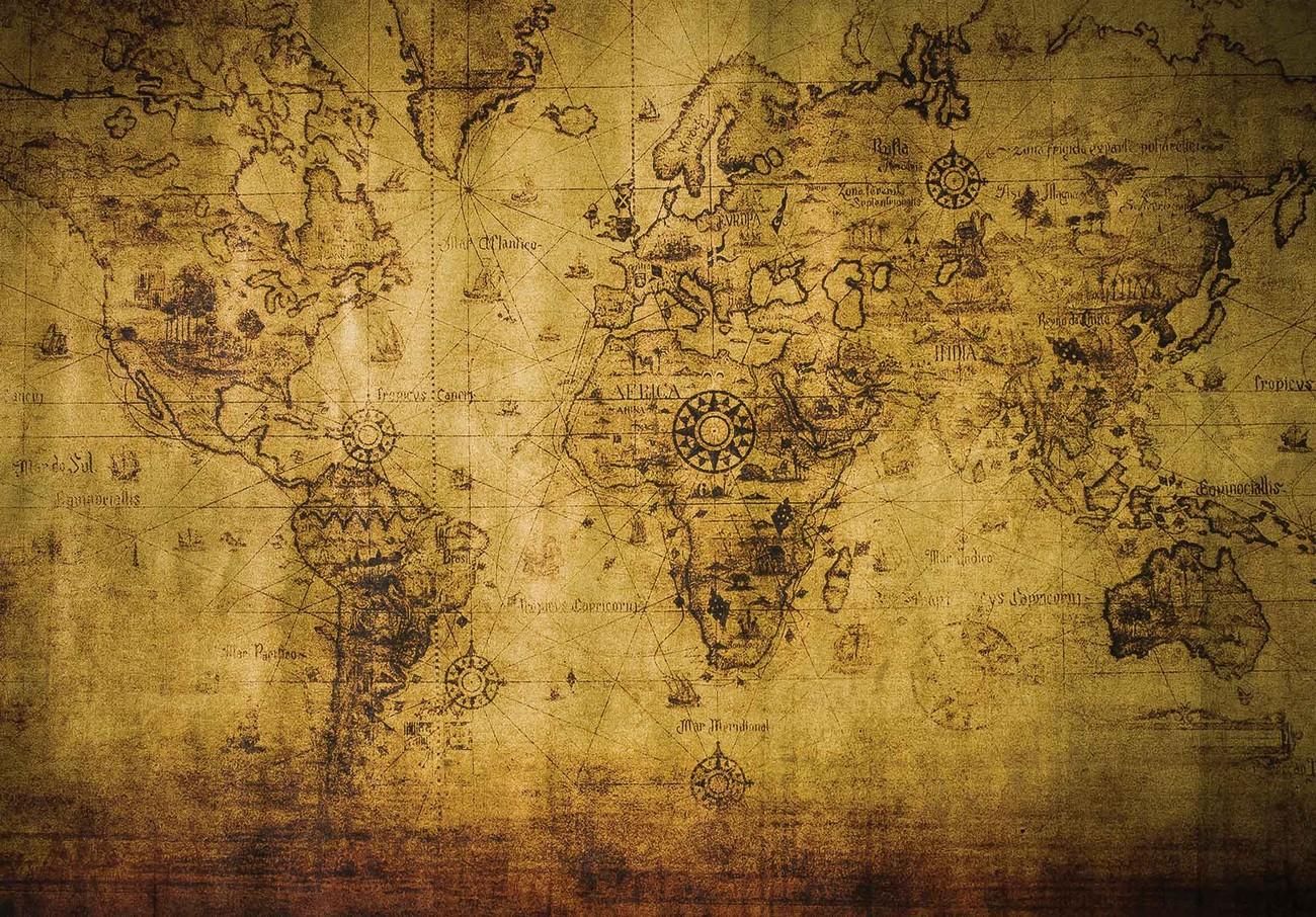 Carta da parati vintage mappa del mondo color seppia for Carta da parati cartina geografica
