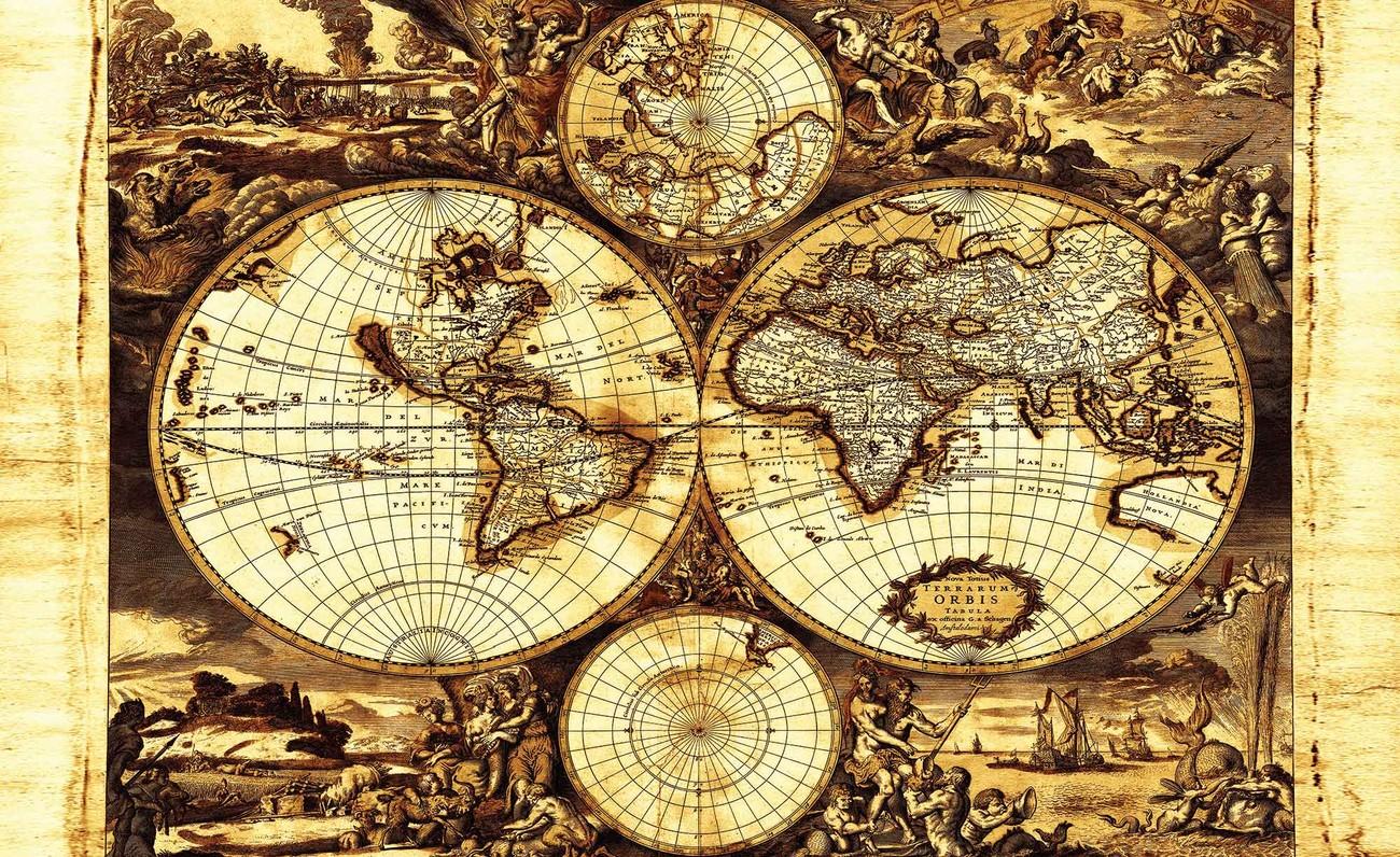 Carta da parati vintage mappa mondo for Carta da parati cartina geografica