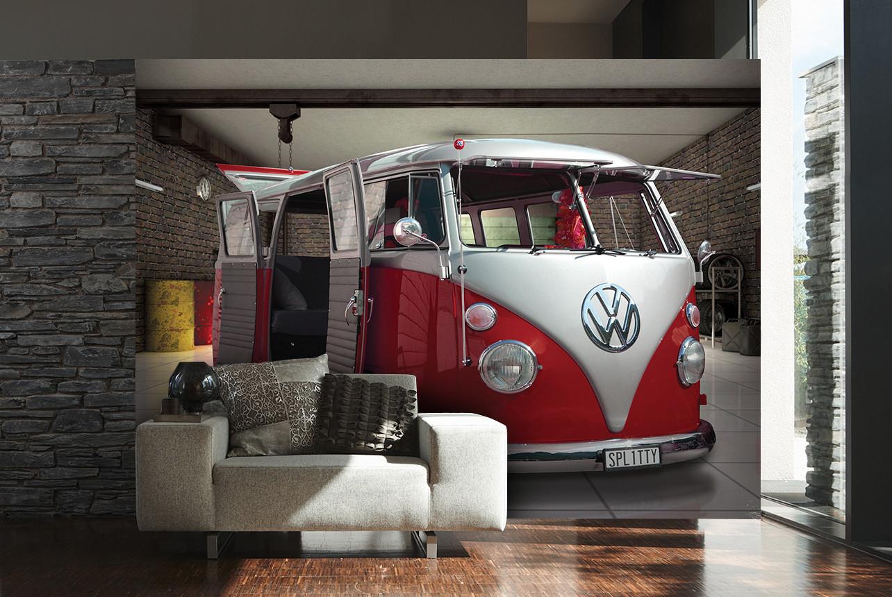 Carta da parati volkswagen red camper van for Cornice poster 61x91