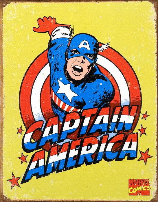 Vintage captain america carteles de chapa compra en europosters - Carteles retro ...