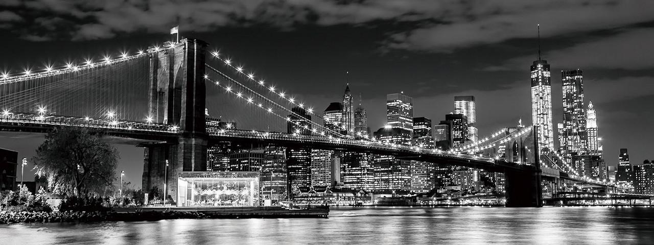 Cuadro en vidrio - New York - Brooklyn Bridge at Night   Europosters.es