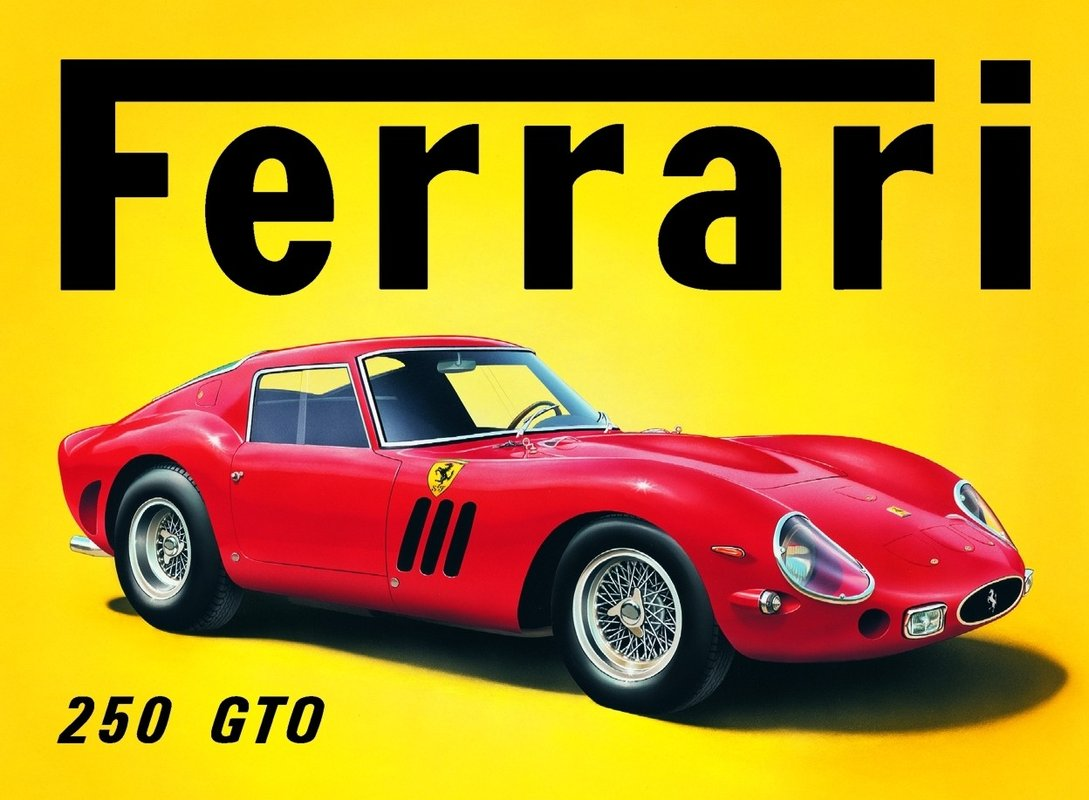 ferrari gto plaque m tal d cor e acheter le sur. Black Bedroom Furniture Sets. Home Design Ideas