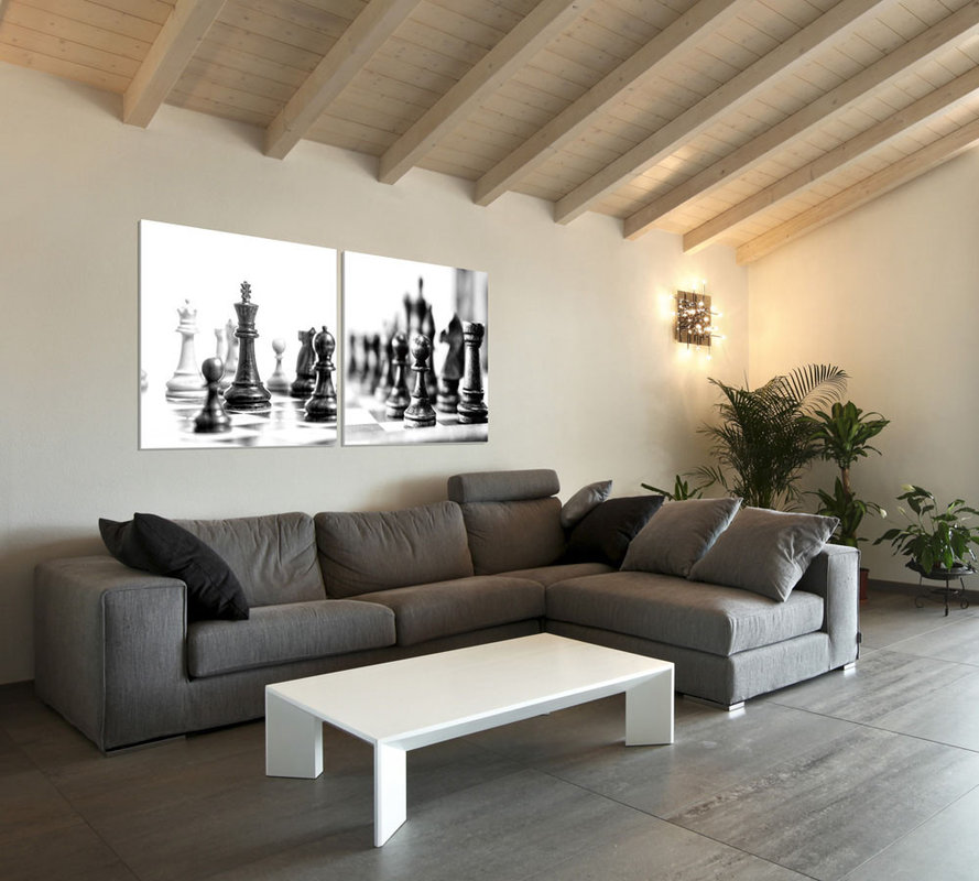 Chess - Black and White World Modern kép