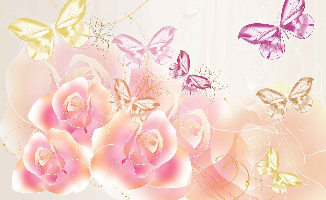 Butterflies Flowers Roses Fotobehang Behang Bestel Nu Op