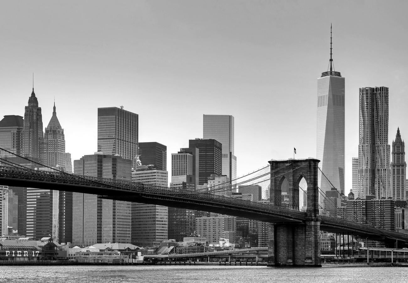 Bestel een New York - Brooklyn Bridge (Zwart Wit) Fotobehang - Bestel ...
