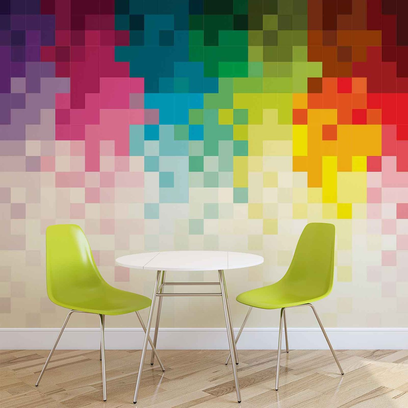 Fotomurale arcoiris patron pixel papel pintado - Fotomurales pixel ...