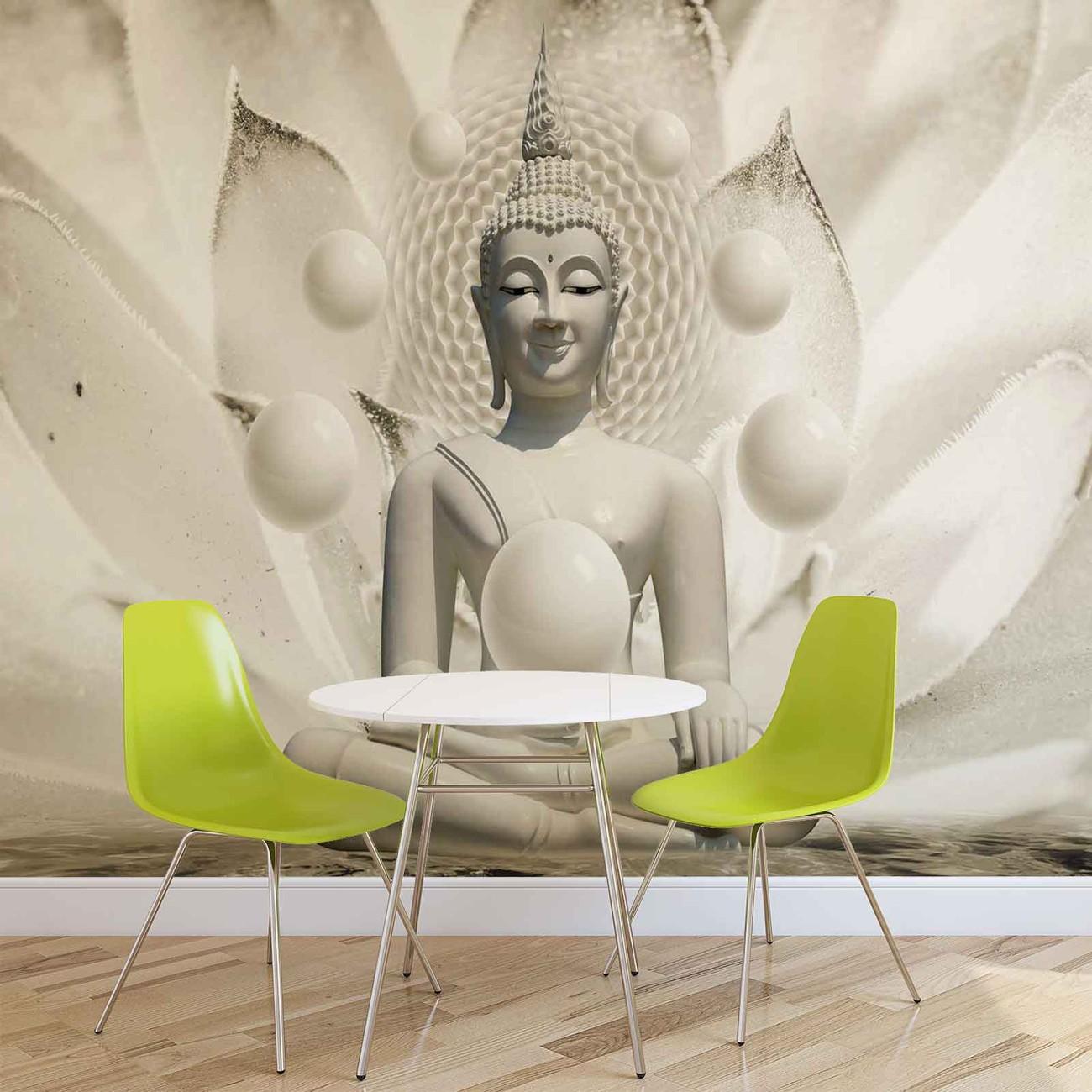 Fotomural Buda Zen Esferas Flor 3D, Papel pintado