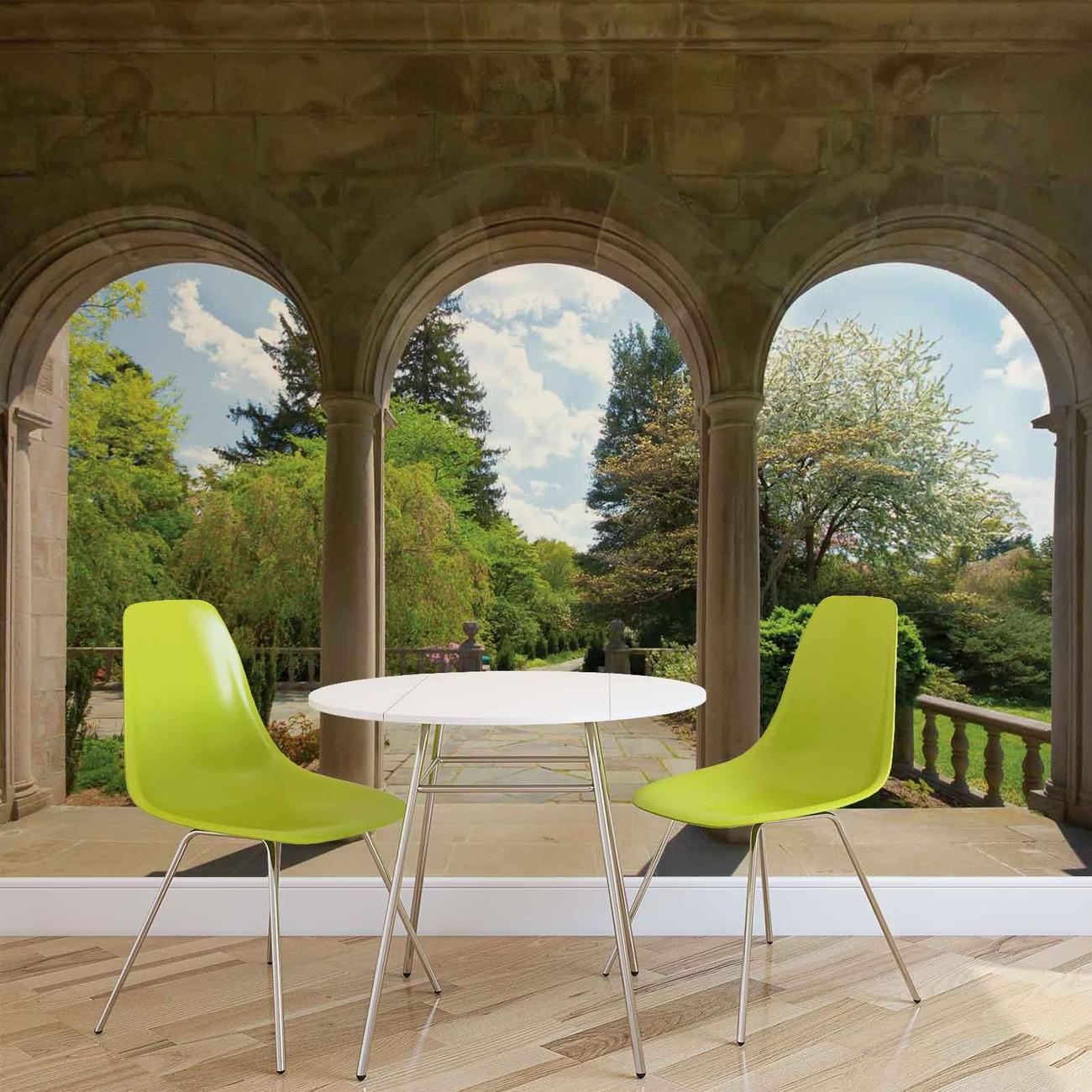 Fotomurale jardin a traves de arcos papel pintado - Arcos de jardin ...