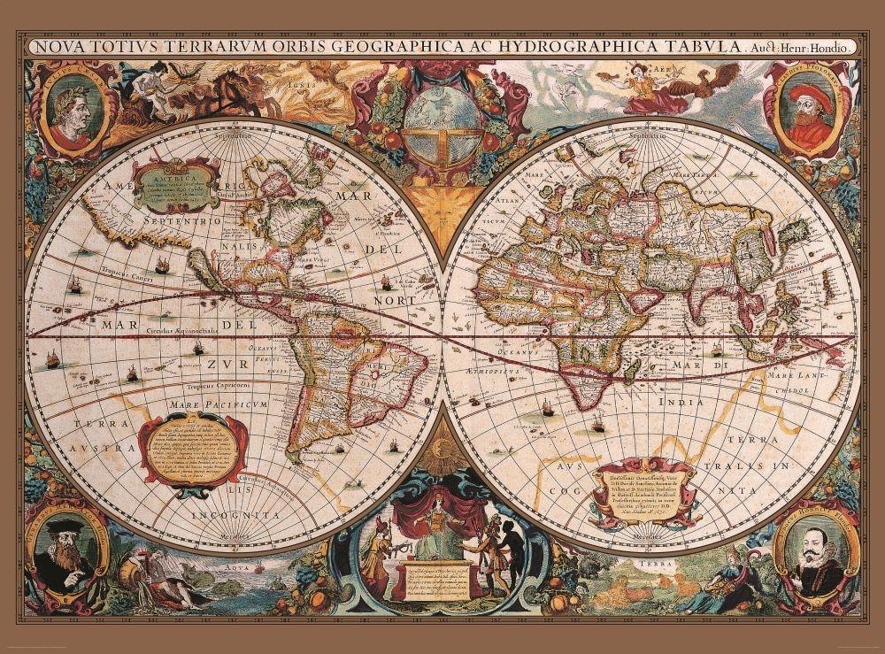 Fotomurale Mapa Antiguo Del Mundo Papel Pintado Europosterses
