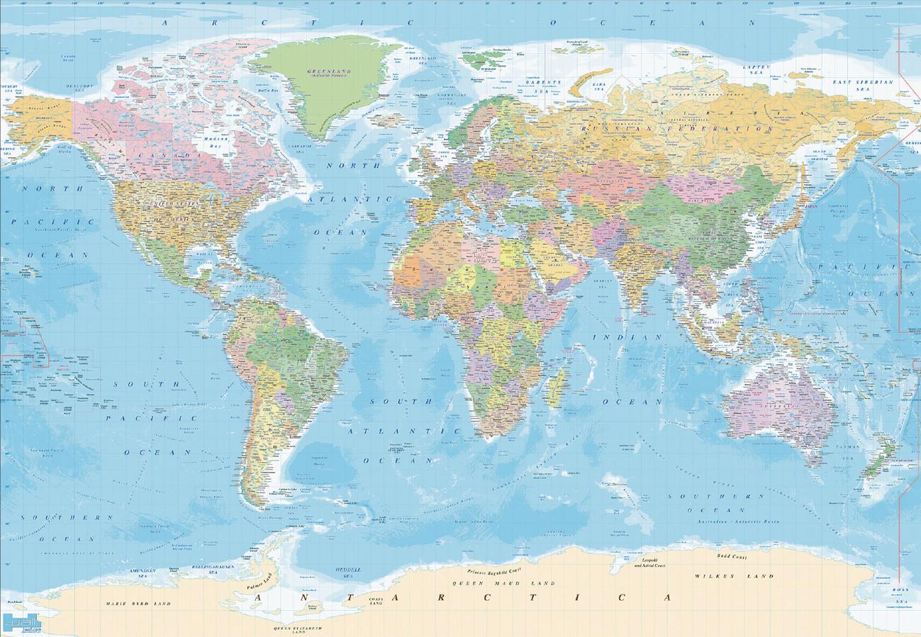 Fotomurale mapa del mundo political papel pintado - Papel pintado mapa del mundo ...
