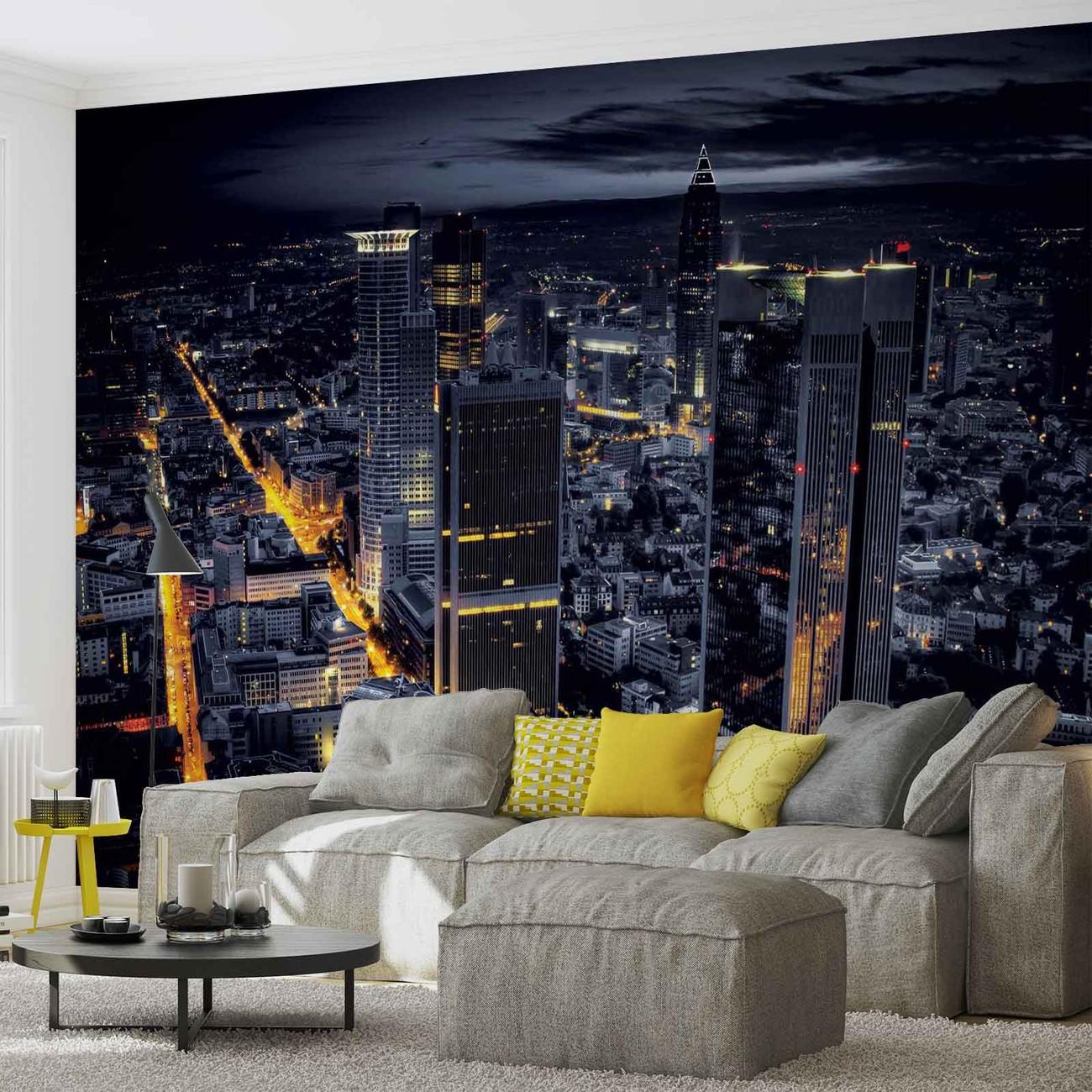 city frankfurt skyline night lights fototapeta tapeta. Black Bedroom Furniture Sets. Home Design Ideas