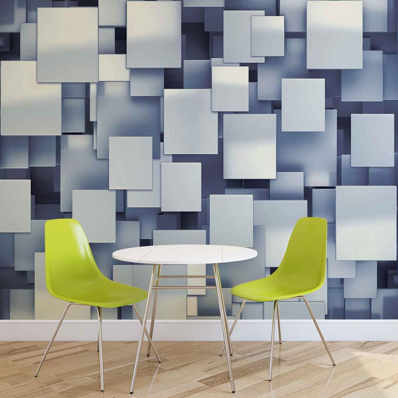 Fototapete tapete abstract squares moderne blau bei europosters kostenloser versand - Moderne fototapeten ...