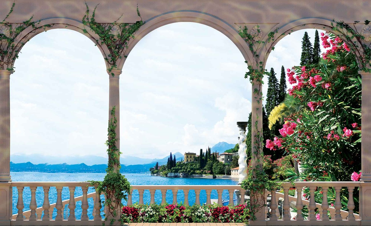 fototapete tapete ausblick b gen blumen comer see italien bei europosters kostenloser versand. Black Bedroom Furniture Sets. Home Design Ideas