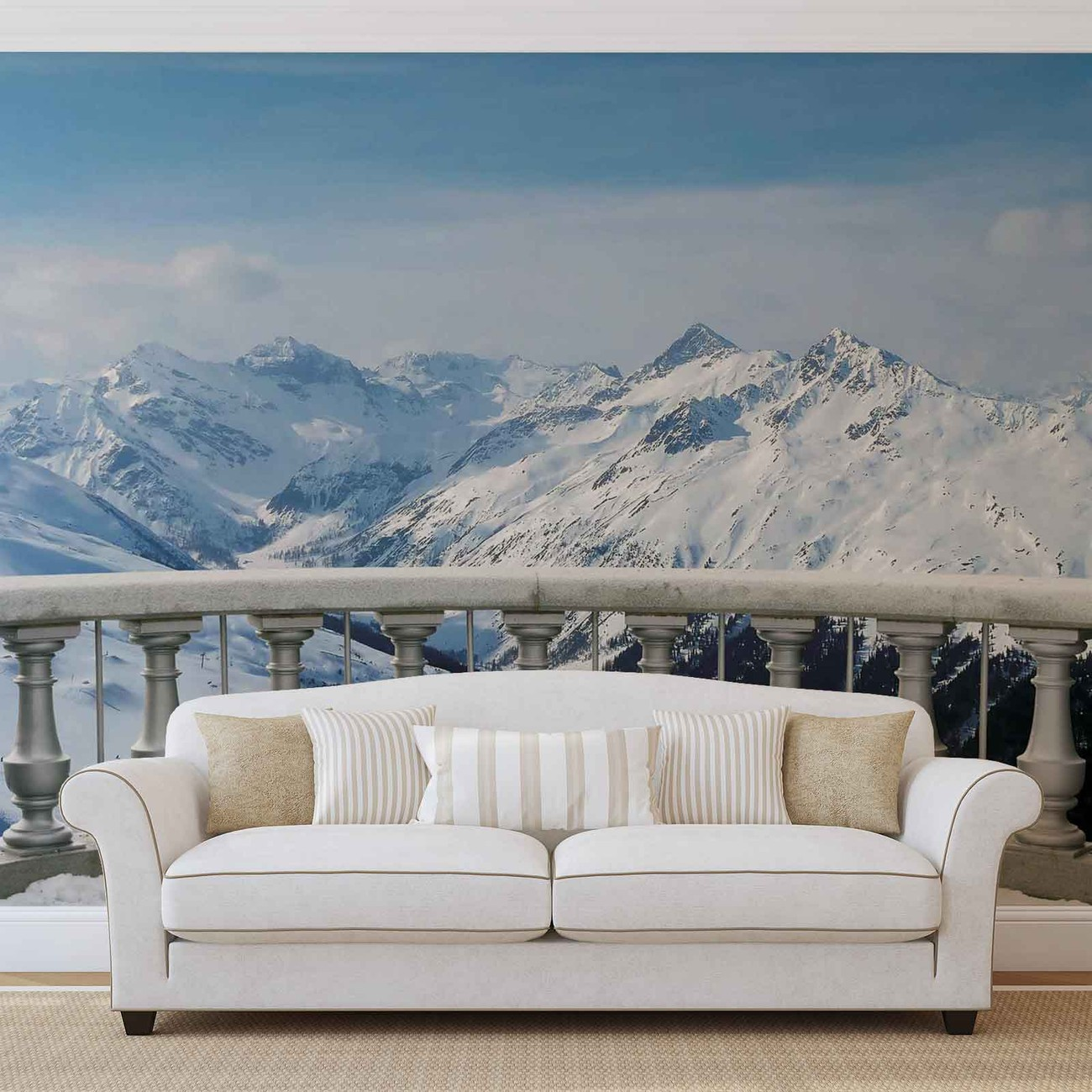 fototapete tapete ausblick landschaft berge schnee bei europosters kostenloser versand. Black Bedroom Furniture Sets. Home Design Ideas