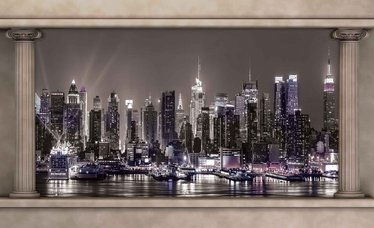 fototapete tapete ausblick spalten new york city skyline bei europosters kostenloser versand. Black Bedroom Furniture Sets. Home Design Ideas