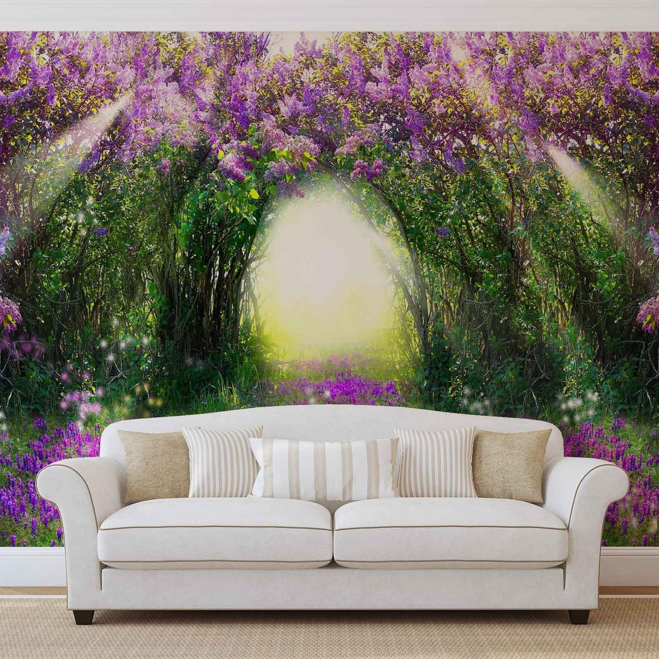 fototapete tapete blumen lila wald licht strahl natur bei europosters kostenloser versand. Black Bedroom Furniture Sets. Home Design Ideas